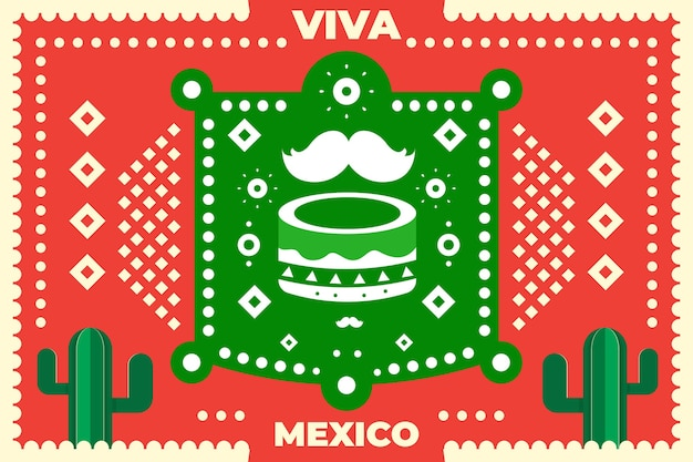 Independencia de méxico illustratie in papierstijl