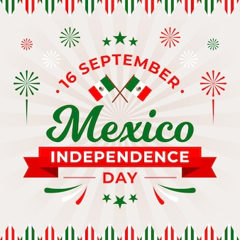 Independencia de méxico met vlaggen en vuurwerk