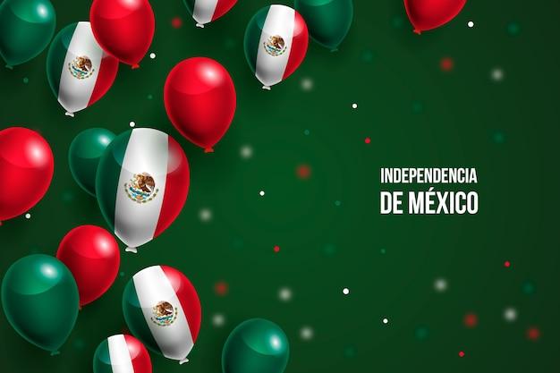 Independencia de méxico realistische achtergrond met ballonnen