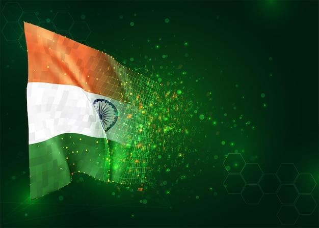 India, 3d vlag op groene achtergrond met polygonengon