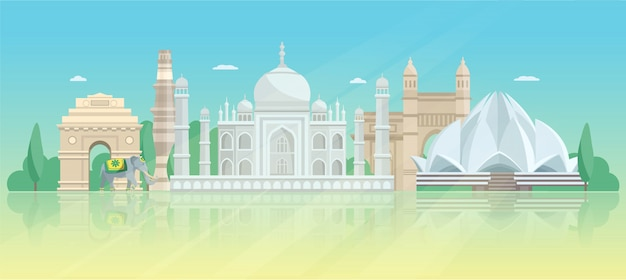 India architectuur skyline poster