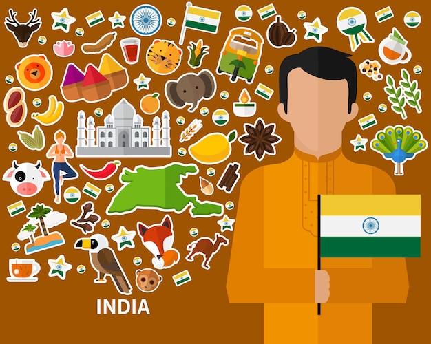 India concept achtergrond. vlakke pictogrammen