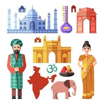 India-elementen in vlakke stijl met nationale oriëntatiepunten om te reizen