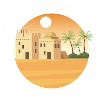 India gebouwen in de woestijn landschap cartoon