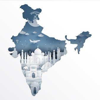 India kaart met beroemde bezienswaardigheid