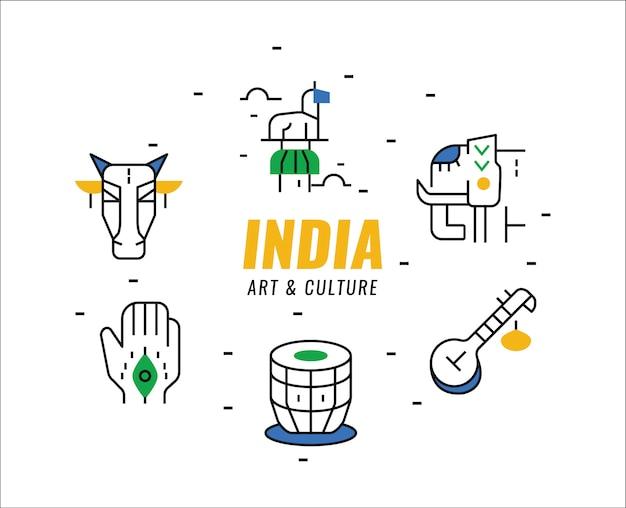 India kunst en cultuur elementen. dunne lijn elementen.
