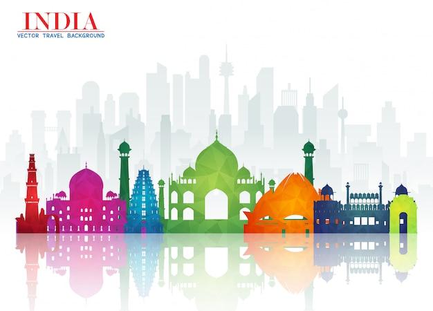 India landmark global travel and journey papier