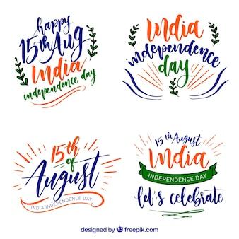 India onafhankelijkheidsdag aquarel badges