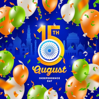 India onafhankelijkheidsdag confetti en ballonnen in de kleuren van de indiase nationale vlag