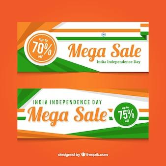 India onafhankelijkheidsdag verkoop banners met platte ontwerp