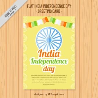 India onafhankelijkheidsdag wenskaart met slingers
