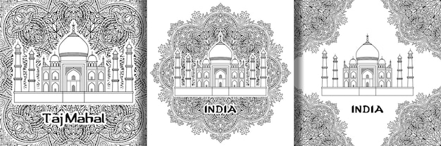 India patroon met taj mahal op bloemen mandala achtergrond prints set