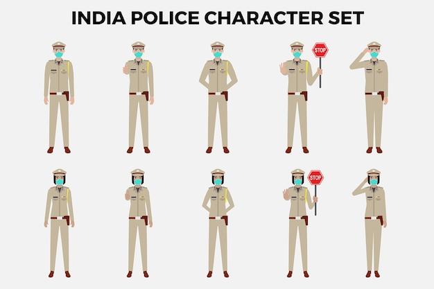 India politie tekenset illustratie