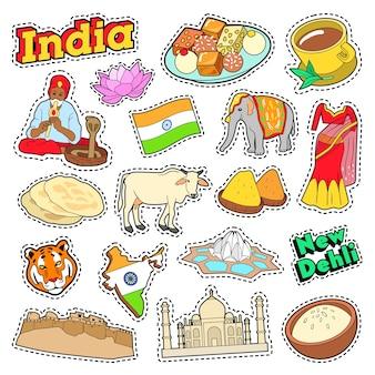 India reiselementen met architectuur en lotus. vector doodle