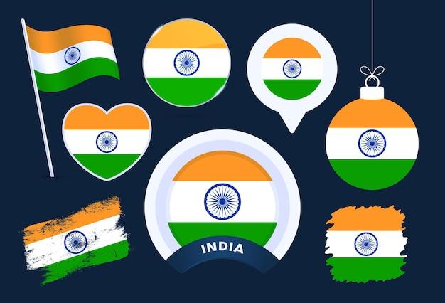 India vlag vector collectie. grote reeks nationale vlagontwerpelementen in verschillende vormen voor openbare en nationale feestdagen in vlakke stijl.