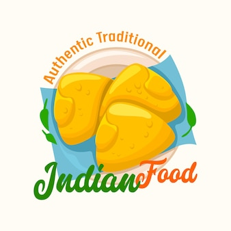 Indiaas eten, authentiek traditielabel met traditionele pasteitjes op bord. oosterse restaurant keuken embleem geïsoleerd op een witte achtergrond. ontwerp voor national idia cafe menu. vectorillustratie