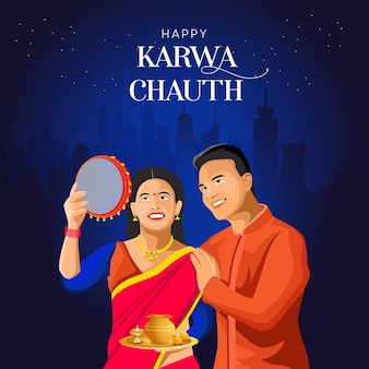 Indiaas koppel karwa chauth vector-sjabloon