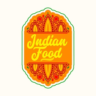 Indiaas voedseletiket met traditioneel oosters ornament. india cafe restaurant pictogram, embleem of oranje uithangbord geïsoleerd op een witte achtergrond. ontwerpelement voor het nationale keukenmenu. vectorillustratie