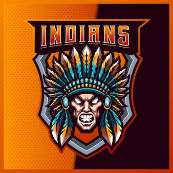 Indian chief esport en sport mascotte logo-ontwerp met moderne illustratie. apache illustratie