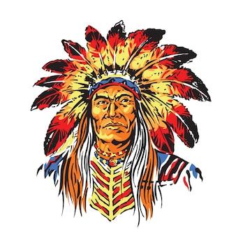 Indian chief upper body illustration