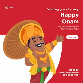 Indian festival happy onam sale bannerontwerp Premium Vector