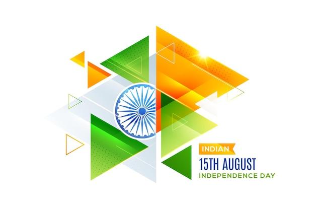 Indian independence day 15 augustus creatieve driehoek achtergrondontwerp