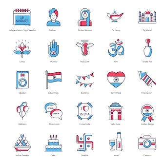 Indian independence day celebration flat icons pack