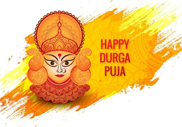 Indian religion festival durga puja face card achtergrond