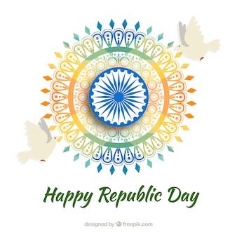 Indian republic day design met kleurrijke wiel