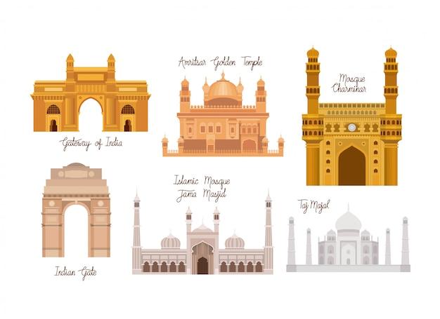 Indiase architectuur met tempels