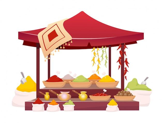 Indiase bazaar tent met kruiden cartoon afbeelding.