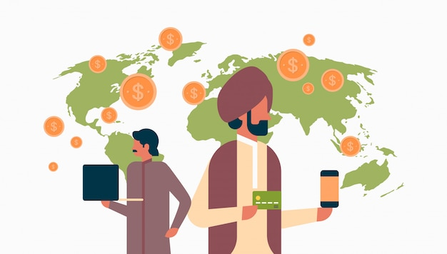 Indiase bedrijfsleven mensen e-betaling geld transactie banner