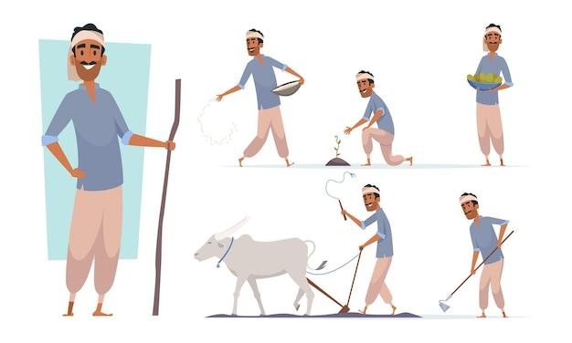 Indiase boer. india dorp juichende karakters werken met koe oogsten bangladesh mensen vector. illustratie india boer landbouw landbouw en verzamel plant