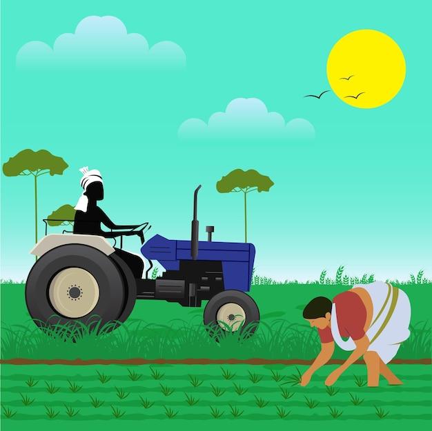 Indiase boerentractor met vrouwen die op de boerderij werken