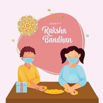 Indiase broer en zus dragen medisch masker ter gelegenheid van happy raksha bandhan festival.