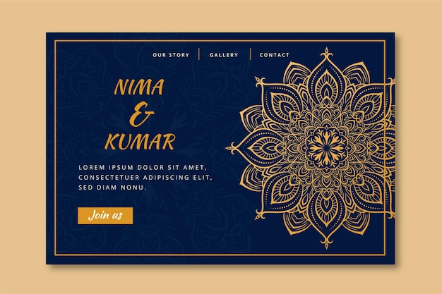 Indiase bruiloft bestemmingspagina sjabloon
