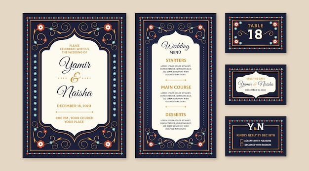 Indiase bruiloft briefpapier ontwerp
