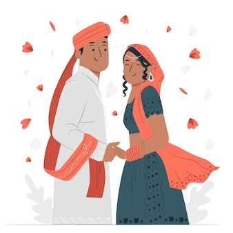 Indiase bruiloft concept illustratie