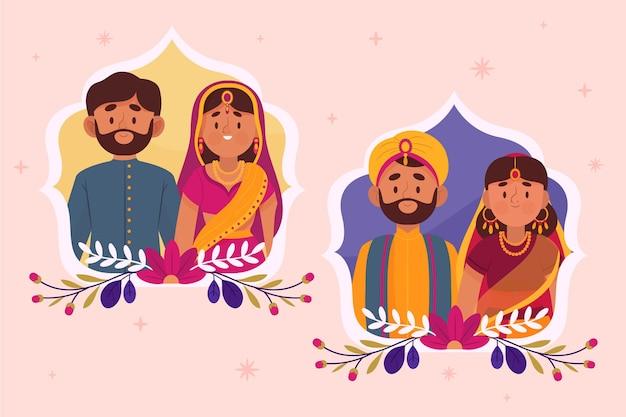 Indiase bruiloft karaktercollectie