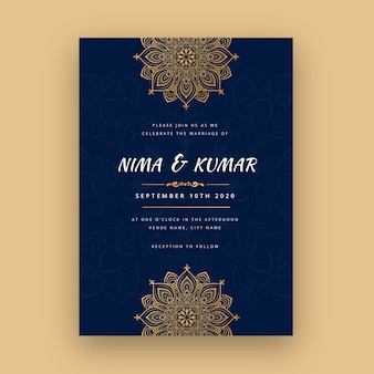 Indiase bruiloft sjabloon uitnodiging