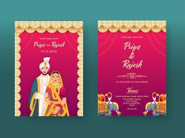 Indiase bruiloft uitnodigingskaart in mandala-patroon met paarkarakter en locatiegegevens.