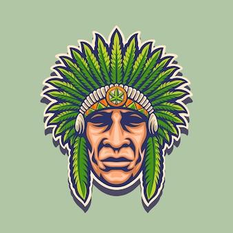 Indiase cannabis mascotte logo