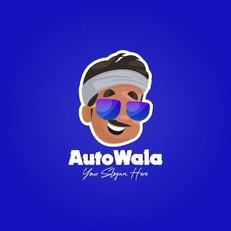 Indiase cool auto wala mascotte logo sjabloon