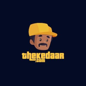 Indiase cool thekedaar mascotte logo sjabloon
