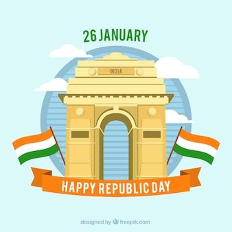 Indiase dag van de republiek ontwerp met india poort
