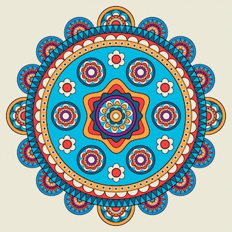 Indiase doodle mehendi gekleurde mandala