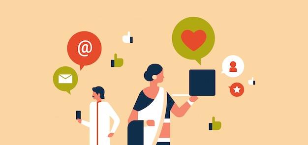 Indiase echtpaar man vrouw sociale media communicatie banner
