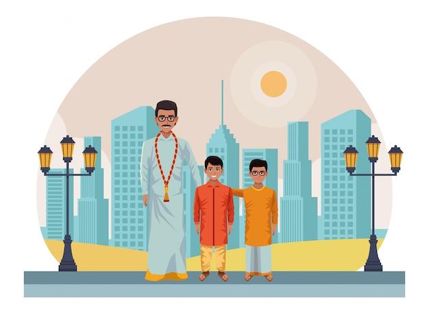 Indiase familie avatar stripfiguur