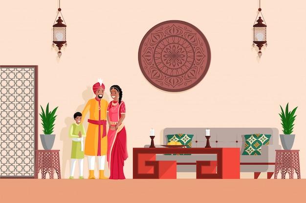 Indiase familie in arabische of indiase stijl ontworpen woonkamer platte vectorillustratie.