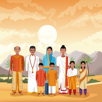 Indiase familie india cartoon